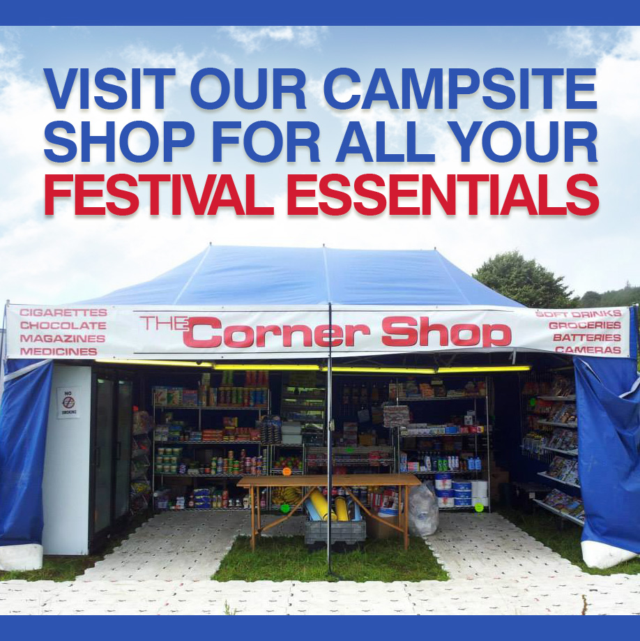 The camp site shop at Farmer Phil's Festival